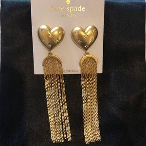 Kate Spade Precious Heart Fringe Earrings NWT